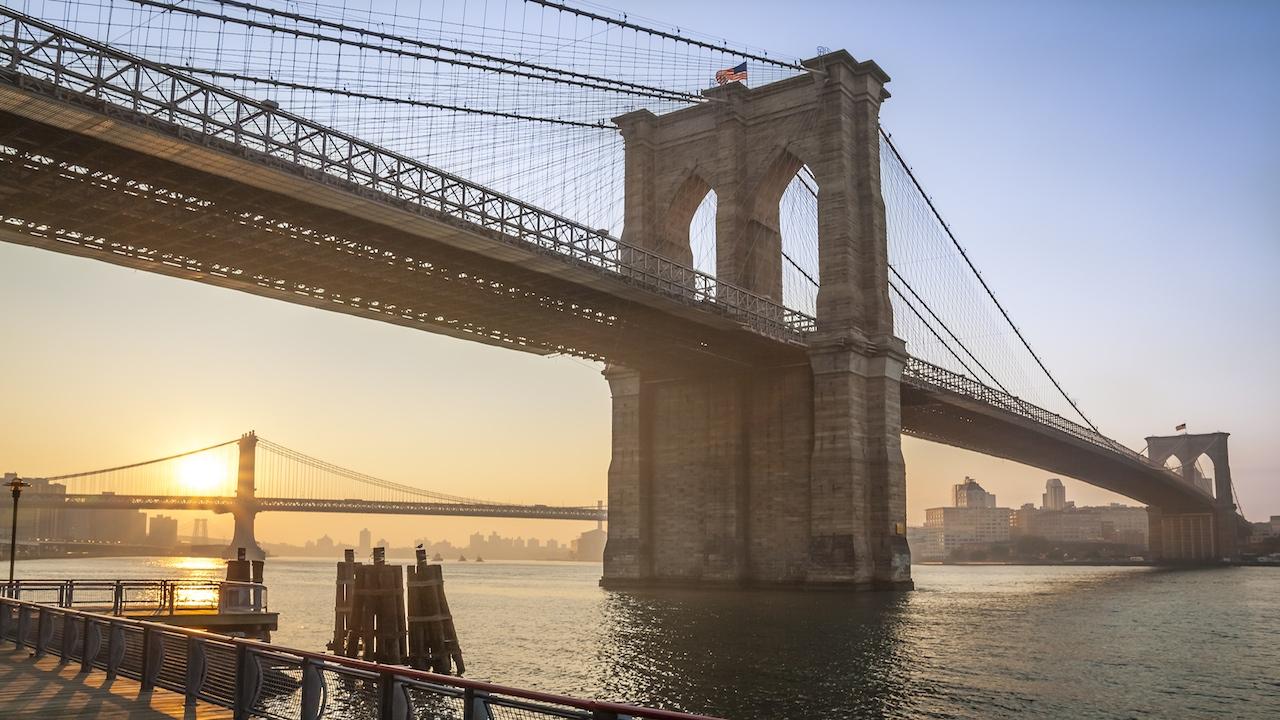 The Brooklyn Bridge in New York, USA.
